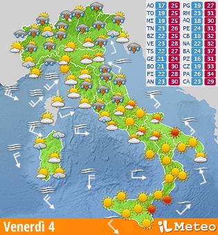 Previsione meteo Italia venerdi