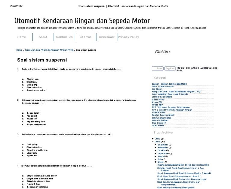 Contoh Soal Dan Jawaban Sistem Starter Sepeda Motor
