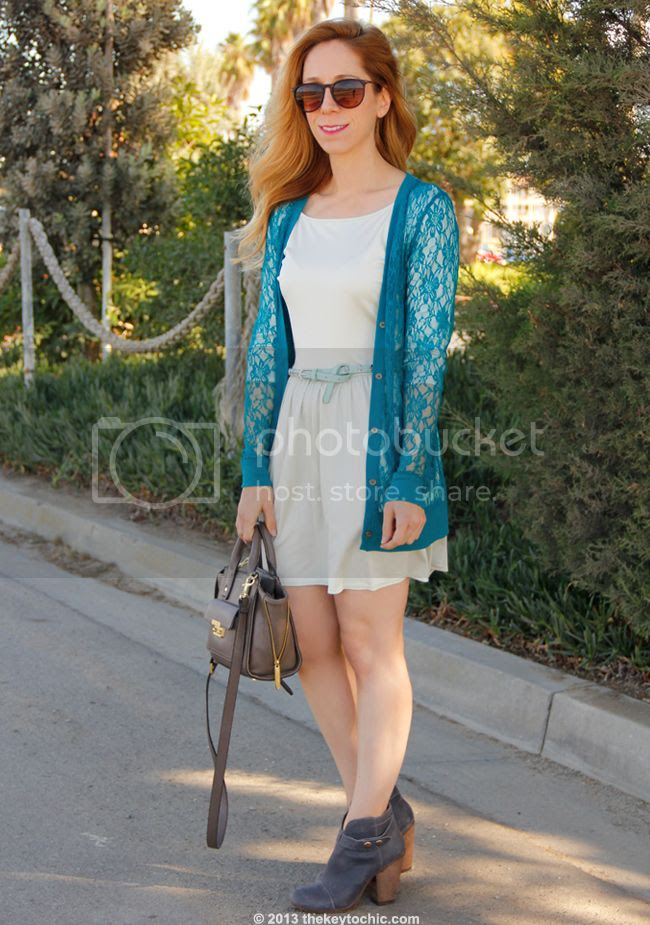 Los Angeles fashion blogger The key To Chic wears a Forever 21 lace cardigan, Phillip Lim for Target satchel, skull belt, and Steve Madden Arieel boots