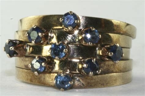 VINTAGE 14K GOLD 5 BAND STACKING .45 CARAT SAPPHIRE RING