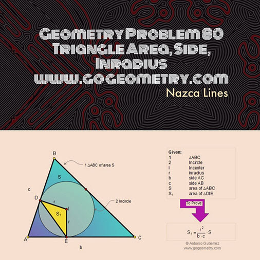 Poster of Geometry Problem 80: Triangle Area, Sides, Inradius, Nazca Lines in the background, iPad Apps.