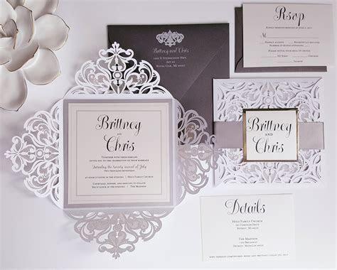 Elegant Wedding Invitations, silver white wedding