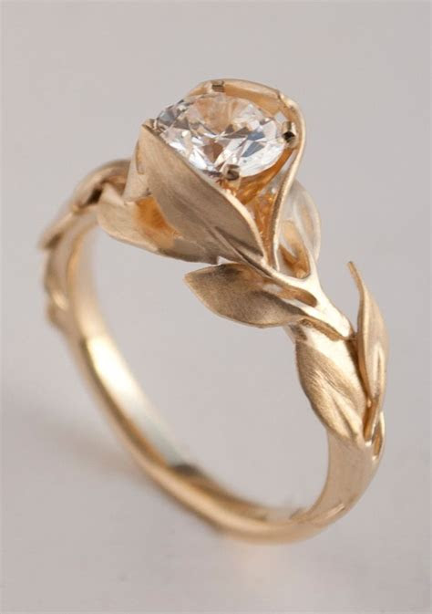 Leaves Engagement Ring No. 7   14K Gold and Diamond