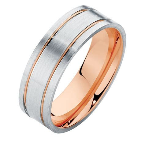Mens Two Tone Rose Gold Wedding Ring   Flat Mens Two Tone II