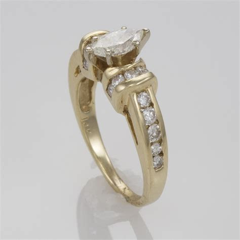 14k Yellow Gold Marquise Diamond Engagement Ring with