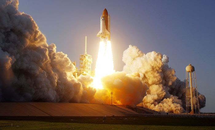 Space shuttle Discovery launches from Kennedy Space Center in Florida on her final voyage to the International Space Station, on February 24, 2011.