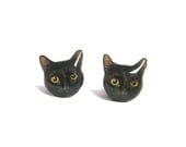 Cute Black Cat Kitten Halloween Stud Earrings - A14E84 - fazjewelry