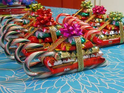 "Another pinner wrote, ""How cute are these candy sleighs?  Tutorial for how to put together."""