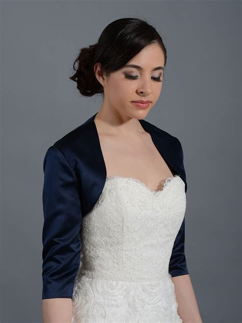 Navy Blue 3/4 sleeve wedding satin bolero jacket Satin009