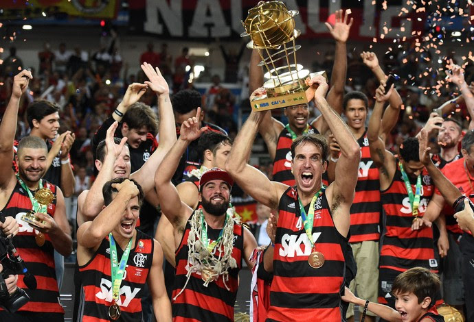 Flamengo campeão NBB8 comemoração (Foto: André Durão)