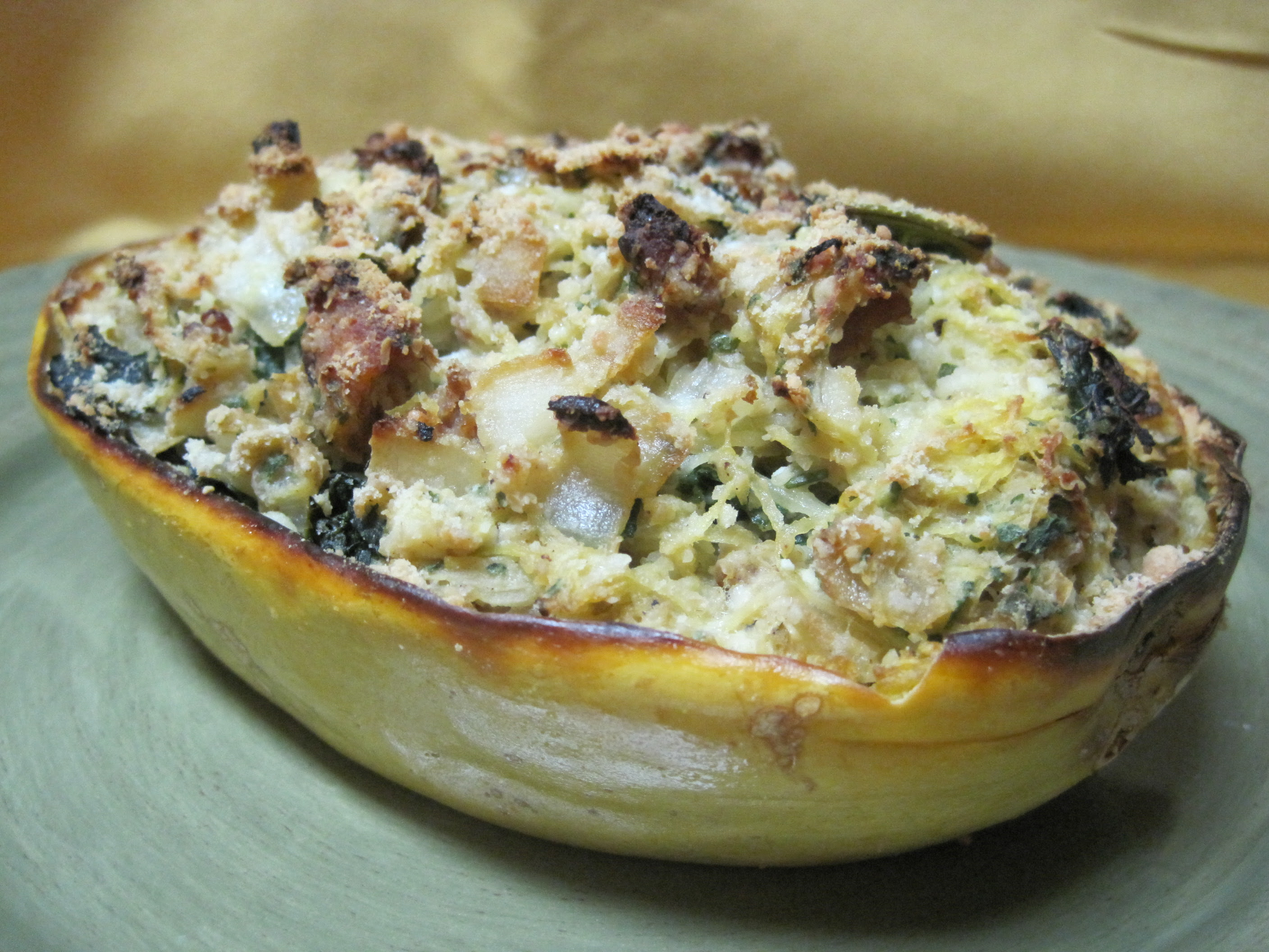 dukan diet recipe Spaghetti Squash, Ground Pork and Kale Bake