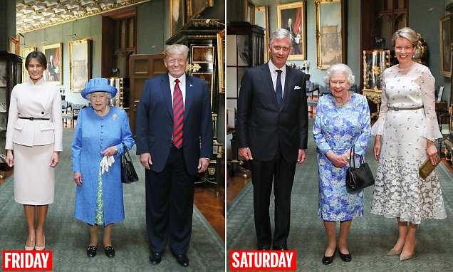 A rainha sorri com o rei e a rainha belga no castelo de Windsor