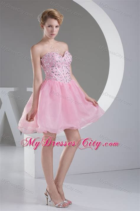 Beading Light Pink Princess Short Organza Prom Homecoming