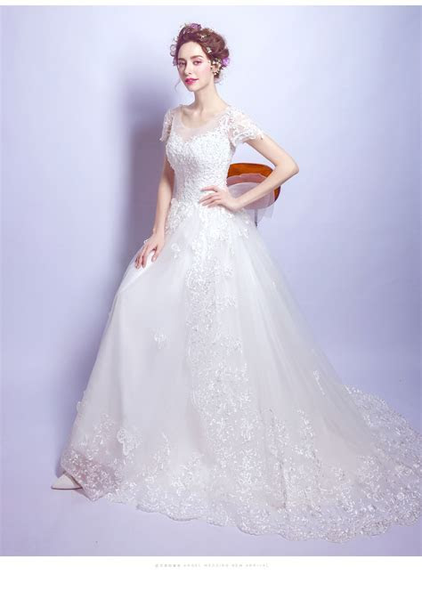 Women's New Bow lace tail Trailing White Wedding Dress   F