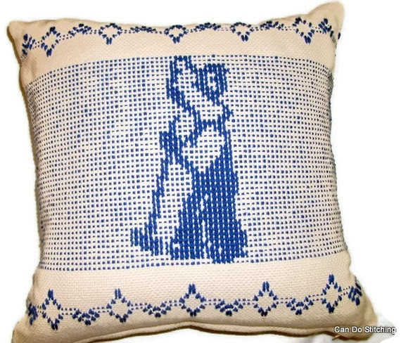 Pillow Cover Handwoven Swedish Weaving Blue Boy - CanDoStitching