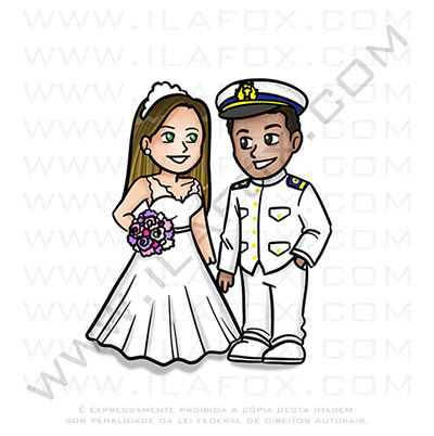 Caricatura fofinha, caricatura casal, caricatura noivos, caricatura para casamento, caricatura uniforme militar