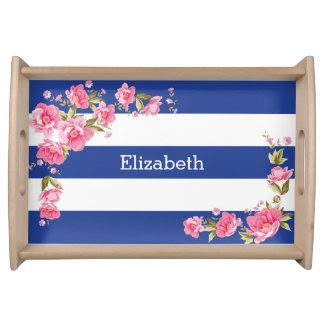Elegant Peonies and Stripes Serving Tray
