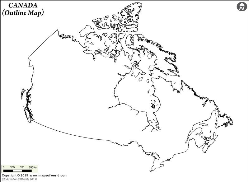 Blank Map of Canada, Outline Map of Canada