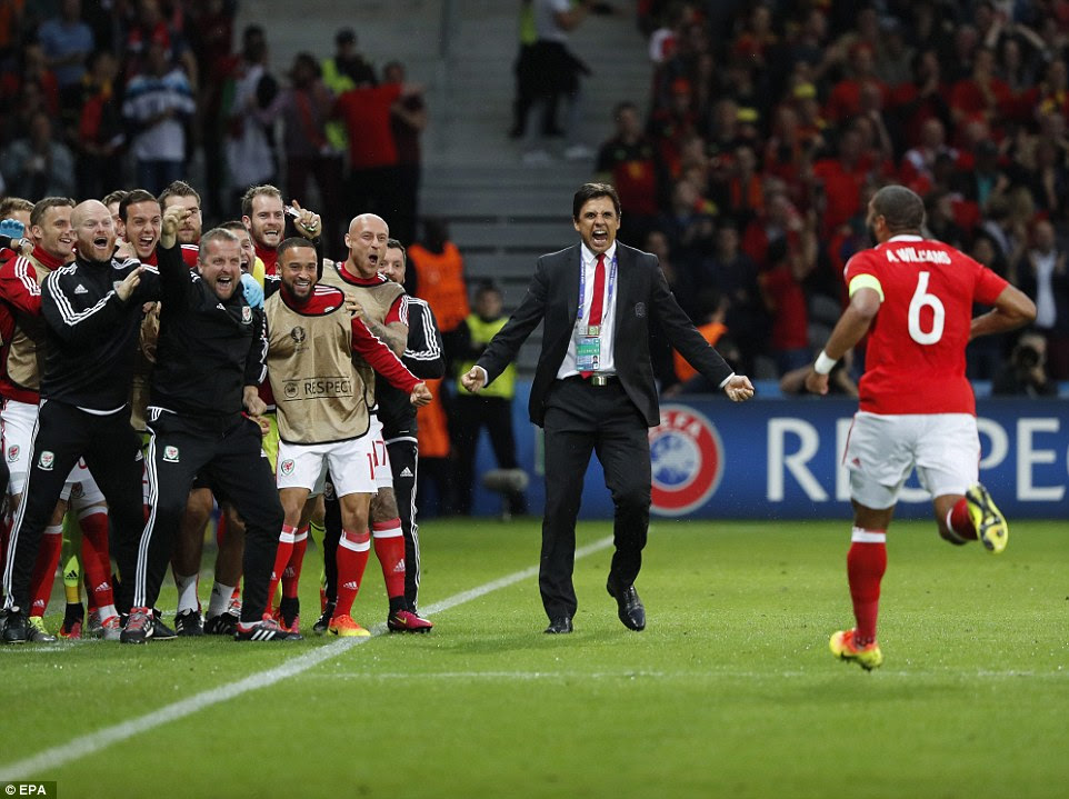 The captain headed straight for his manager Chris Coleman as the 30th-minute goal sparked raucous celebrations on the Welsh bench