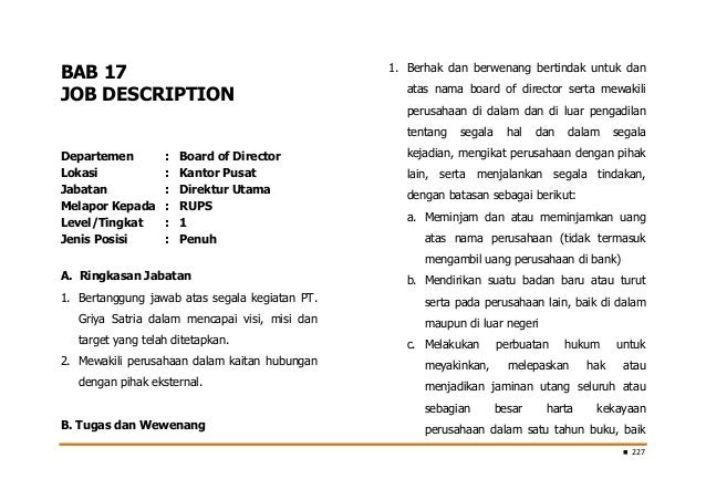 contoh format membuat job description