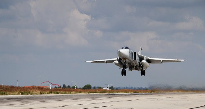 A Russian Su-24 strike aircraft takes off from the Khmeimim airbase in Syria.
