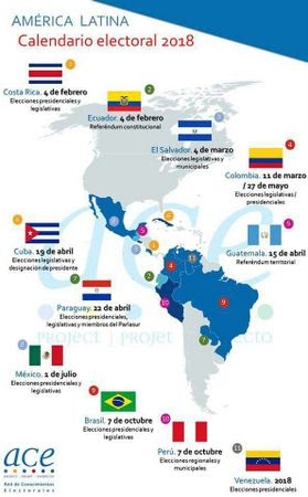 Map of the 2018 elections in Latin America. Credit: ACE