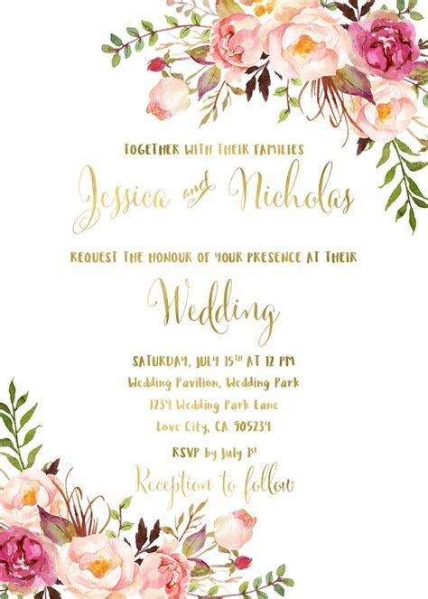 $15 $27 Floral wedding invitation suite printable boho