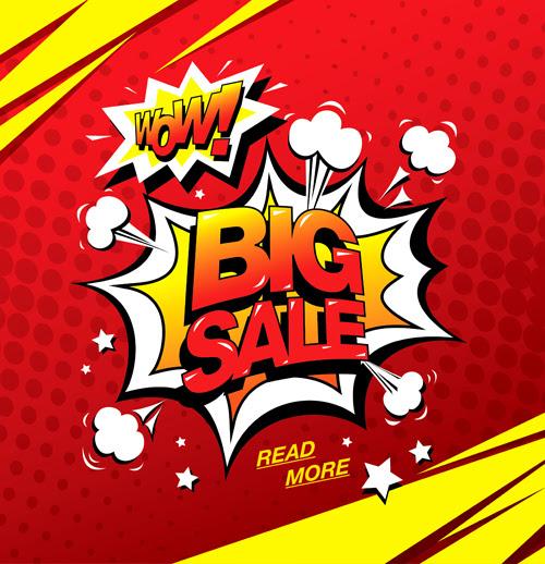 Cartoon style big sale template design vector 02