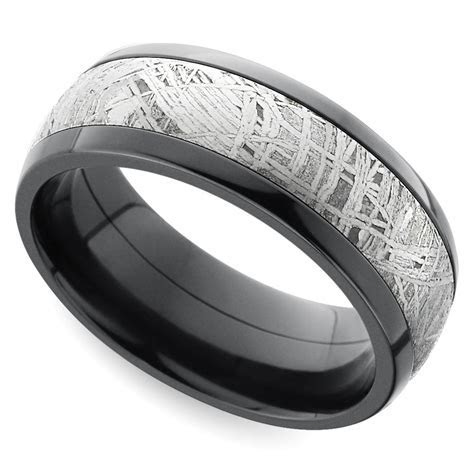 Comfort Fit Men's Wedding Ring with Meteorite Inlay in