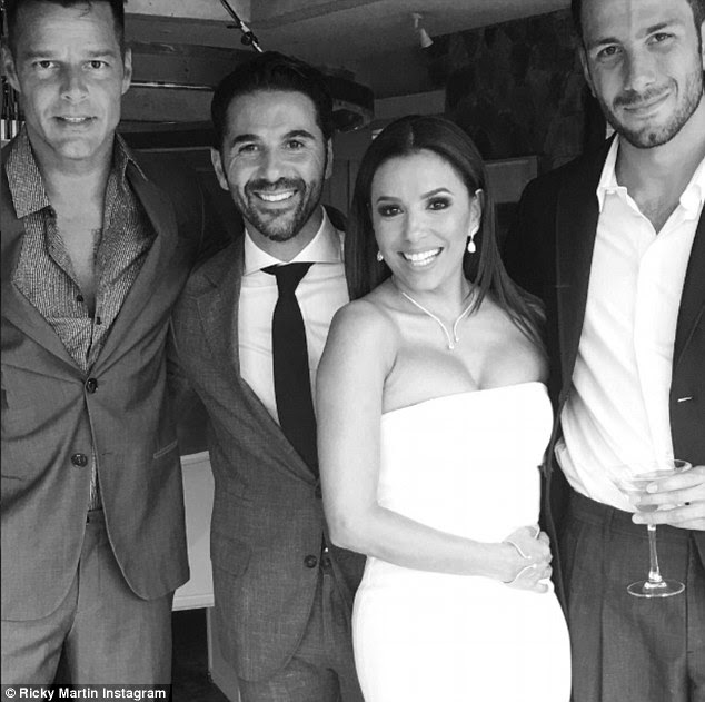 Just married: The happy couple marriedat a private residence in the lakeside town of Valle de Bravo, and Ricky Martin was among the guests