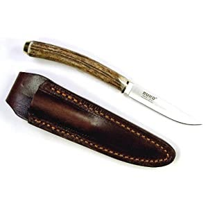 Promo Buck Knife Best Deal Ruko 3 Inch Blade Bird And Trout Knife With Genuine Deer Horn Handle And Leather Sheath