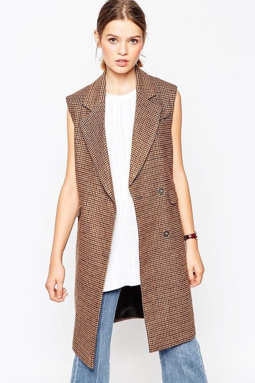 Le Fashion Blog Inexpensive Checkered Sleeveless Coat Side split Sleeveless Tank Burgundy Watch Denim Flares Via ASOS