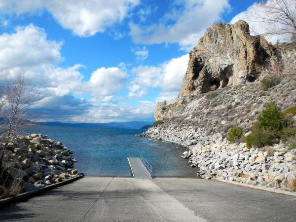 Tahoe piers-drought: Cave Rock