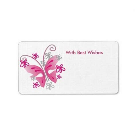 Pink Butterfly Gift Tags   Best wishes Personalized