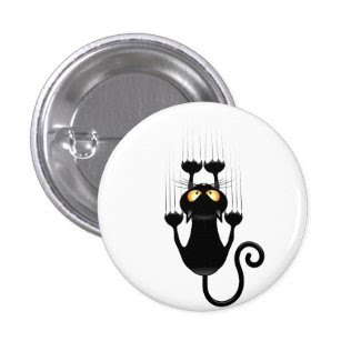 Funny Black Cat Cartoon Scratching Wall Pinback Button