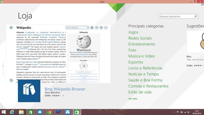 Por padrão, ModernMix exibe aplicativo do Windows 8 em janela maximizada na Área de Trabalho (Foto: Reprodução/Elson de Souza)