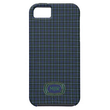 Greens Blues Scottish-style Tartan Plaid Monogram iPhone 5 Case