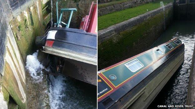 Capsized narrow boat