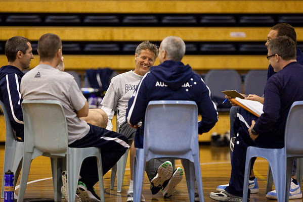 Boomers basketball Head Coach Brett Brown with his coaching panel including Marty Clarke, Andrej Lemanis, Ian Stacker & Luc Longley - Boomers - Australian Men's Basketball Team Open Training Session, The Southport School, Queensland, Australia; 28 July 2011. Photos by Des Thureson:  http://disci.smugmug.com.