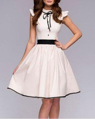 Vintage Stand Collar Lace-Up Ruched Button Design Slimming Dress For Women
