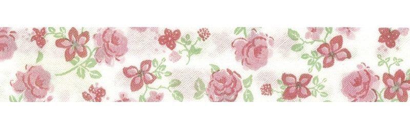 Bies Perfilado Flores Rosas Sobre Fondo Blanco 20mm Fillawant
