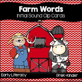 Farm Words Inital Sound Match and Clip Cards Freebie
