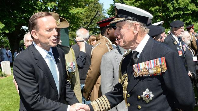 Australian Prime Minister Tony Abbott and Prince Philip in Bayeux, France, last June. Pic