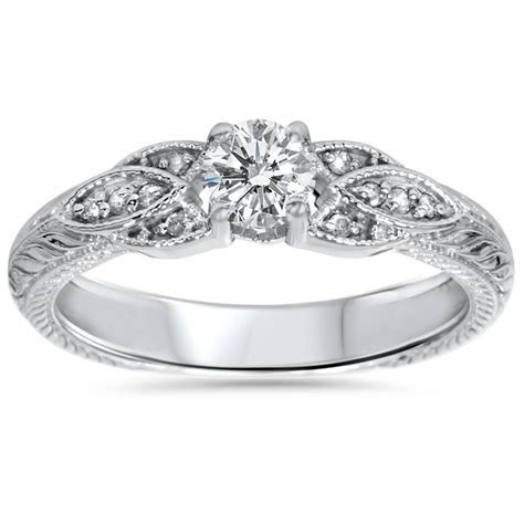 3/8ct Vintage Diamond Floral Engraved Engagement Ring 14K