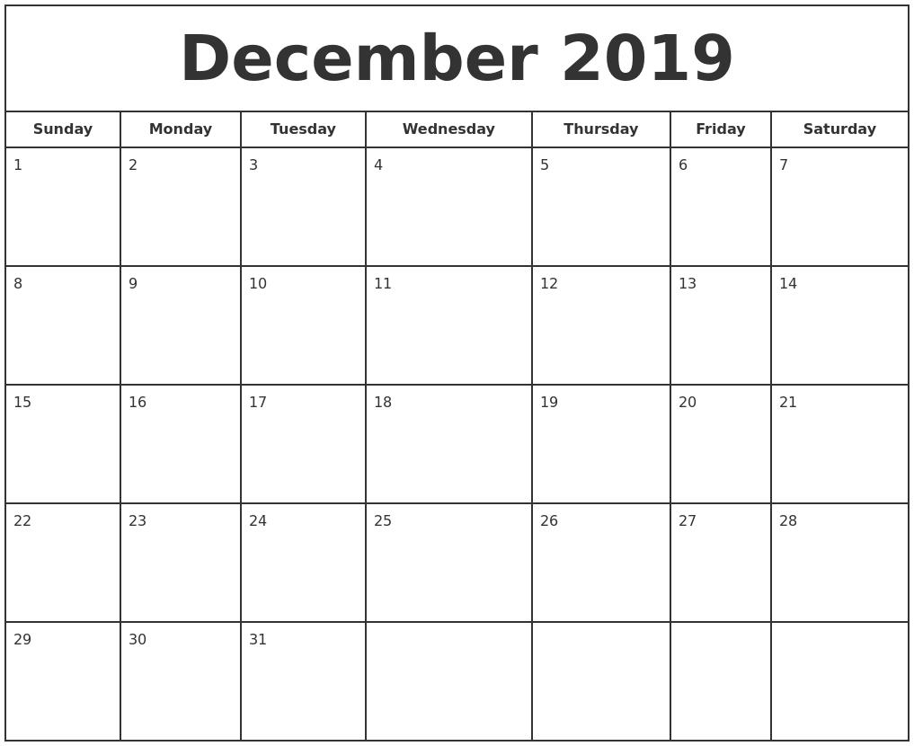 december 2019 print free calendar full weekday