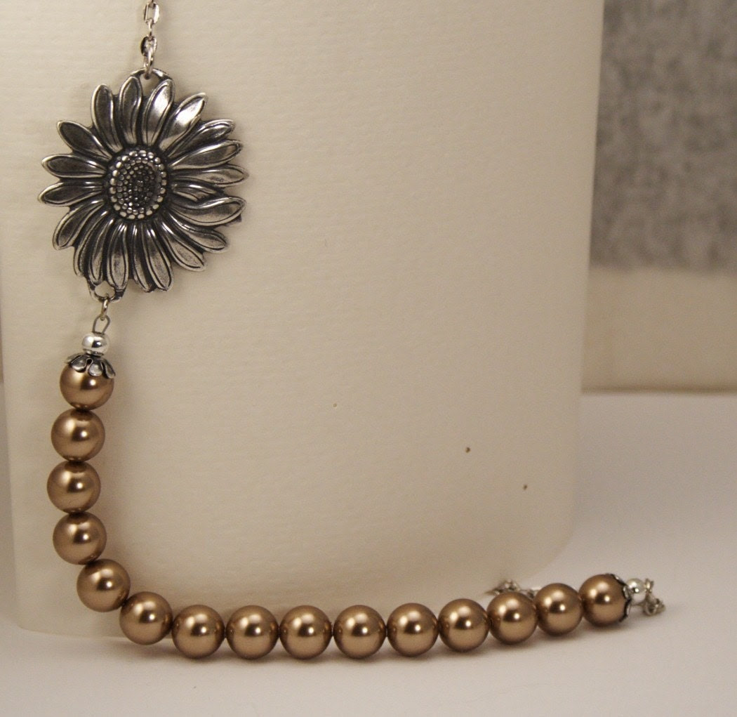 Vintage Style Sunflower Bloom Necklace - Bronze Pearls and Antique Silver