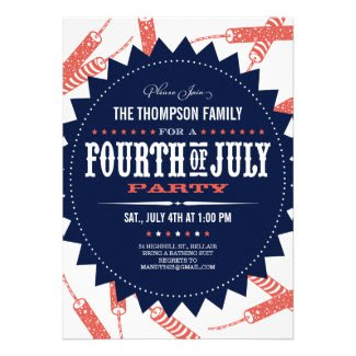 Freedom Fireworks Fourth of July Party Invitations