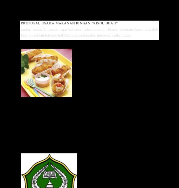Contoh Proposal Usaha Makanan Sehat - Contoh Makalah ...