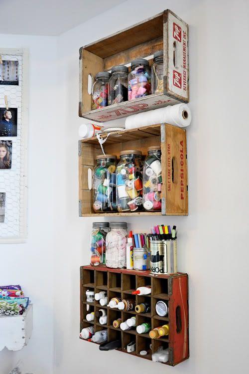 vintage soda boxes as shelves