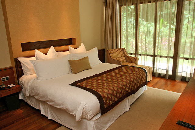 Luxurious beds, as usual, at the Villas